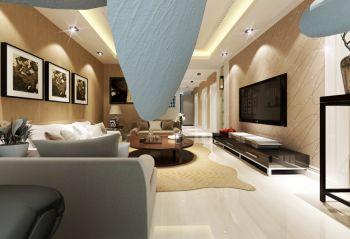 客厅黄色照片墙现代风格装饰效果图