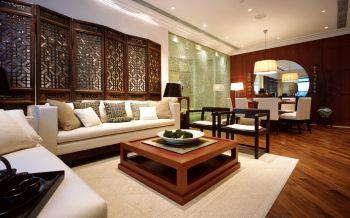客厅黄色隔断中式风格装饰图片