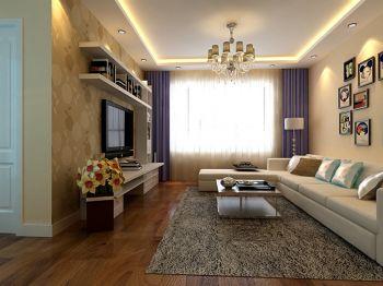 客厅紫色窗帘现代简约风格装潢效果图