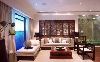 客厅白色窗帘中式风格装潢图片