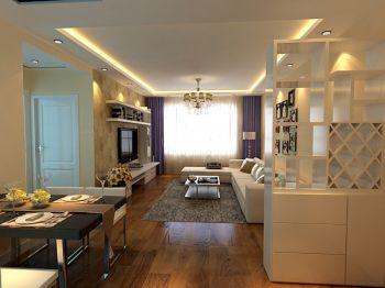 客厅白色隔断现代简约风格装修图片