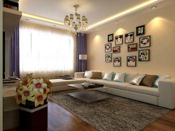 客厅黄色照片墙现代简约风格装饰图片