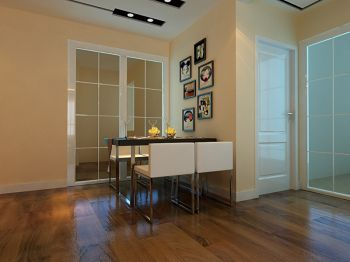 餐厅黄色照片墙现代简约风格装潢图片