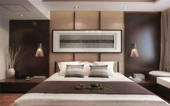 卧室咖啡色背景墙中式风格装潢效果图