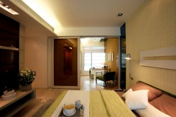 卧室推拉门现代简约风格装潢效果图