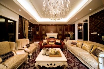 客厅红色细节欧式风格装潢图片