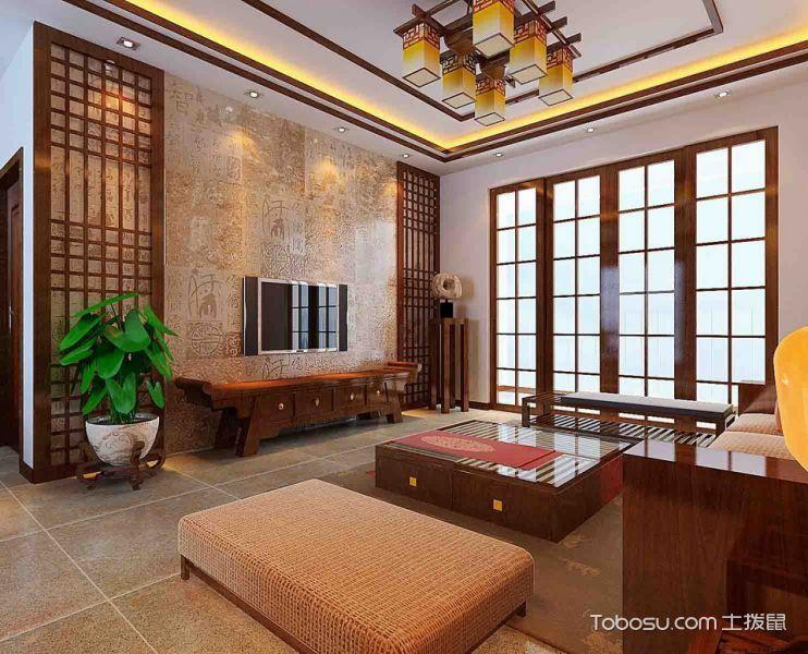 客厅 背景墙_中式风格160平米三居室房子装修效果图
