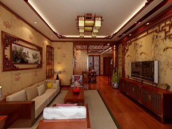 中式古典风格90平米二居室房子装修效果图