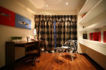 书房灰色窗帘现代简约风格效果图