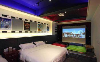 卧室黑色榻榻米美式风格装潢图片