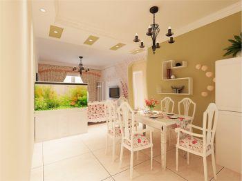 餐厅绿色背景墙田园风格装修效果图