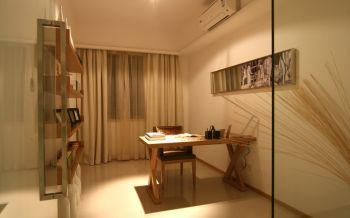 书房白色窗帘现代简约风格效果图