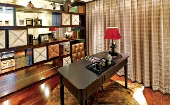 书房黄色窗帘现代风格装潢设计图片