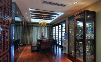 餐厅白色背景墙现代中式风格装修设计图片