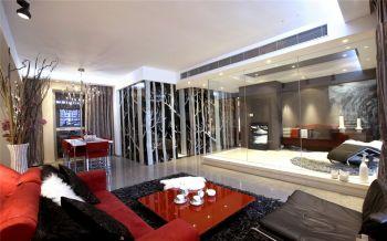 客厅红色细节现代简约风格装潢效果图