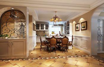 餐厅白色隔断美式风格装潢图片