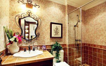 卫生间黄色背景墙美式风格装修设计图片