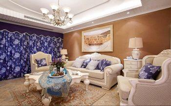 吟枫苑欧式地中海混搭风格110平米三居装修效果图