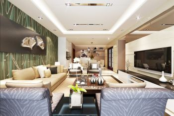 现代简约风格装修120平米三居室房子装修效果图