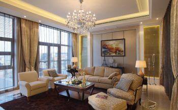 客厅黄色窗帘美式风格效果图