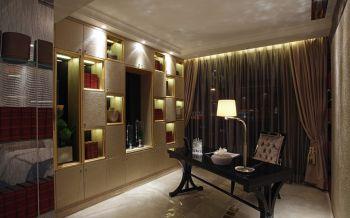 书房咖啡色窗帘美式风格装饰效果图