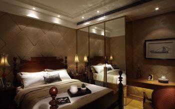 卧室咖啡色背景墙美式风格装修图片