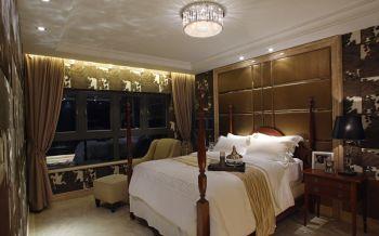 卧室咖啡色吊顶美式风格装潢图片
