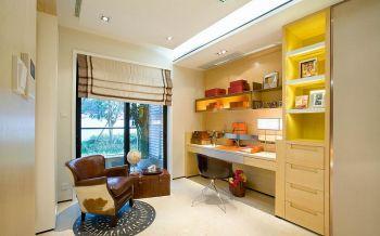 书房黄色窗帘现代简约风格效果图