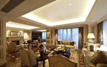 客厅黄色窗帘欧式风格效果图