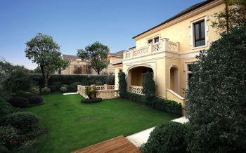 花园绿色外墙欧式风格装饰效果图