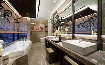 卫生间咖啡色隔断现代简约风格装潢图片