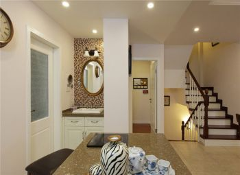 卫生间白色背景墙美式风格装潢效果图