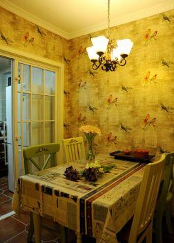 餐厅黄色背景墙田园风格装饰效果图