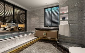 卫生间背景墙现代欧式风格装修图片