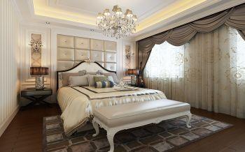 卧室白色背景墙现代欧式风格装潢效果图