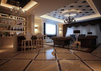 客厅白色吧台欧式风格装饰图片