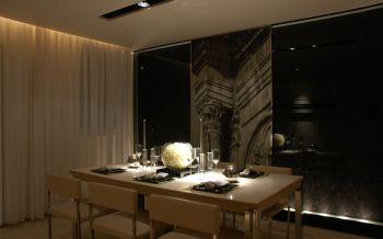 餐厅白色窗帘现代简约风格装潢设计图片