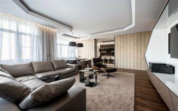 客厅白色窗帘后现代风格装修设计图片