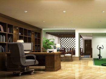 书房咖啡色书桌混搭风格装饰效果图