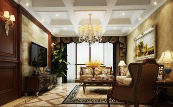 客厅咖啡色电视柜美式风格装修图片