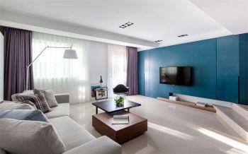 客厅蓝色背景墙简约风格装饰设计图片