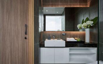 卫生间咖啡色洗漱台北欧风格装修效果图