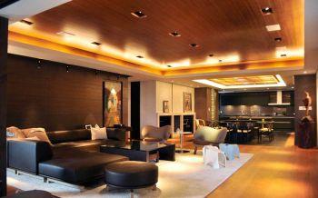 客厅黑色沙发日式风格装修图片