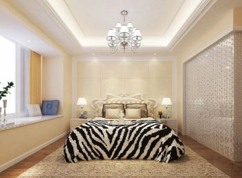 卧室米色背景墙简欧风格装修图片