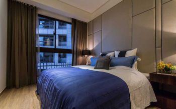 卧室咖啡色窗帘现代简约风格效果图