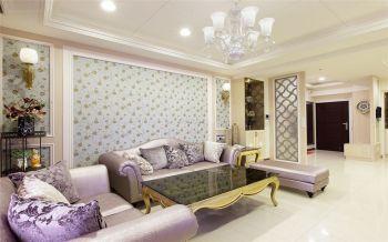 客厅白色背景墙简欧风格装潢效果图