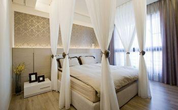 卧室白色床现代简约风格效果图