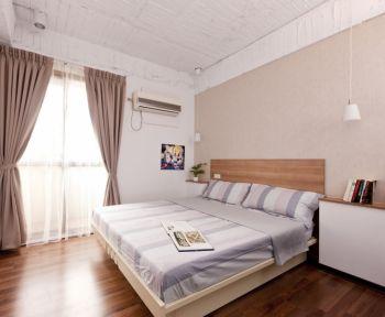 卧室粉色窗帘现代简约风格装修图片