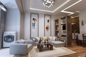 现代简约风格100平米二居室装修案例图