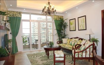 客厅绿色窗帘田园风格装饰效果图